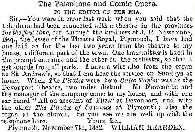 1882 November 11 The Era p. 6 Plymouth telephone trimmed