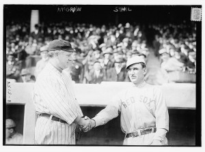 managers John McGraw of the Giants and Jake Stahl of the Red Sox at the 1912 World Series