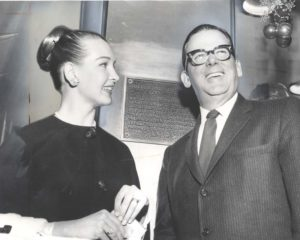 1957 plaque Taina Elg and Mayor Norris Poulson - Main and Seventh