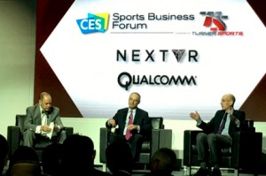 Turner Sport's announcer Ernie Johnson (left) with MLB Commission Rob Manfred (center) and NBA Commissioner Adam Silver discussed the sports industry during a panel at CES.