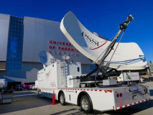 PSSI is on hand at the College Football National Championship to provide redundant satellite backup of the primary fiber transmission services provided by The Switch.