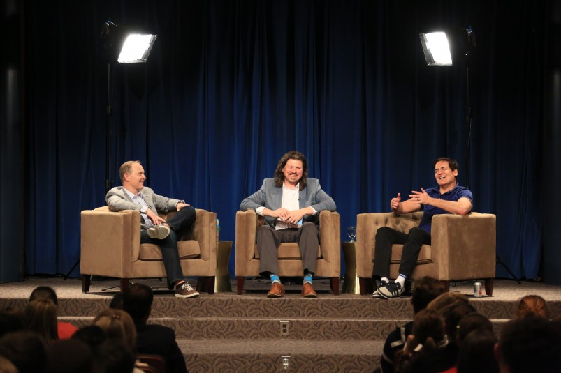 From left: Fox Sports' Eric Shanks, Indiana University's Dr. Galen Clavio, and Mark Cuban speak before a packed hall at IU's Whittenberger Auditorium on Feb. 18.