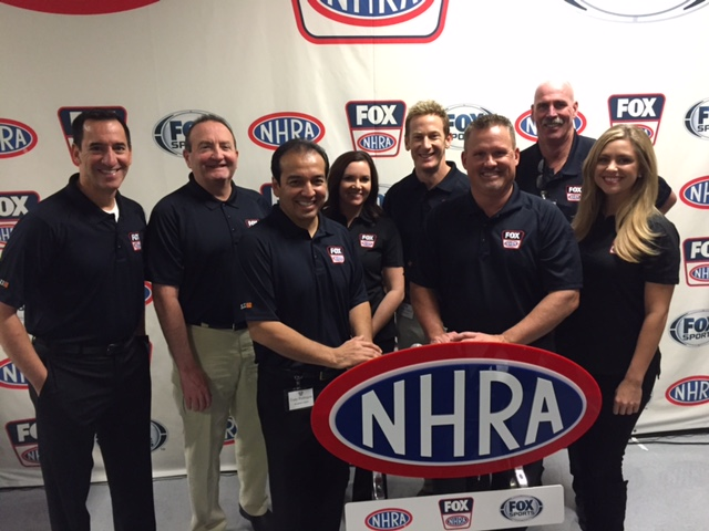 NHRA on-air team: (from left) Lewis Bloom, John Kernan, Tony Pedregon, Jamie Howe, Bruno Massel, Dave Rieff, Alan Rinehart, Amanda Busick
