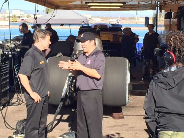 Pete Skorich and Jim Sobczak at the NHRA production rehearsal this month