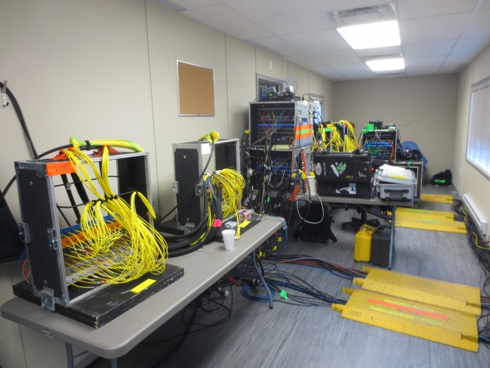 All fiber connects are inside a trailer to keep them warm in extreme cold in Toronto.