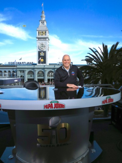 Dave Shaw, NFL, VP of Production, on the NFL Network's perch set overlooking the San Francisco Ferry Building.