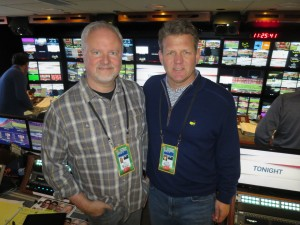 Bill Niehoff (left) and Mike Werteen of NEP inside SSCBS, the production unit at the center of CBS Sports' coverage of Super Bowl 50.