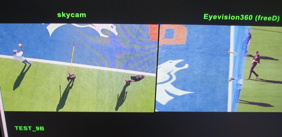 A test of the EyeVision 360 system shows its potential for showing whether or not a player broke the plane of the goal line. Left is a Skycam shot of three people relative to the goal line and on the right one can see which of them broke the plane and by how much.