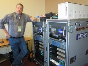 Bexel's Scott Nardelli with the latest version of the NFL's instant replay system. Bexel installed the system in every NFL stadium this season.