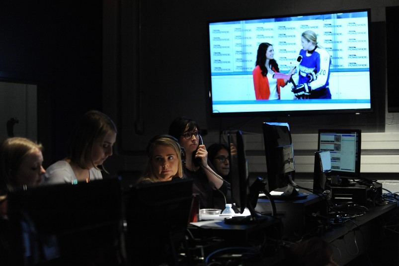 An interdisciplinary group of female students from Ryerson's Faculty of Communication and Design filled the entire crew of a live broadcast for the Rams Network on Jan. 29.