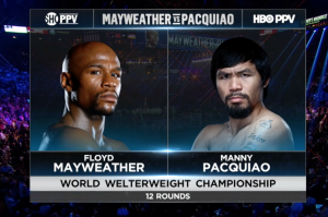 HBO and Showtime went for a simple, sleek look for its graphics package on last May's Pacquaio-Mayweather fight.