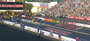 The NHRA's graphics package includes virtual start/finish lines and sponsor integration on the track.