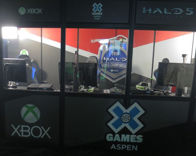 The player booths inside the Gaming Shack at Winter X