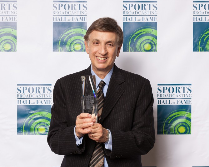 Marv Albert at the 2015 Sports Broadcasting Hall of Fame Ceremony