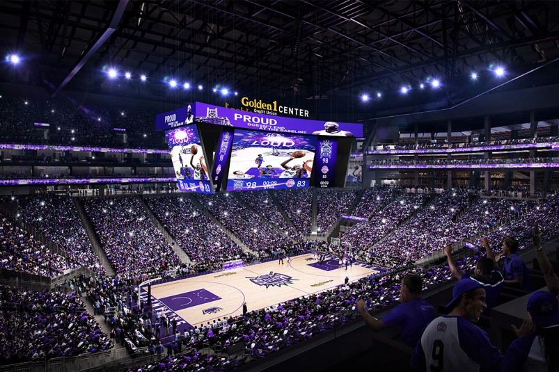 A rendering of Sacramento's Golden 1 Center arena with its Panasonic 4K videoboard