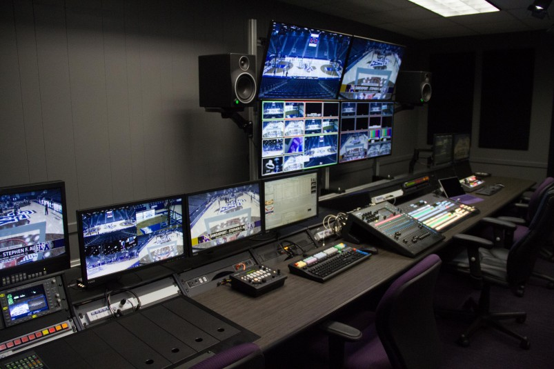 Stephen F. Austin's centralized control room connects to four venues on campus and is designed off the ESPN3 production model.