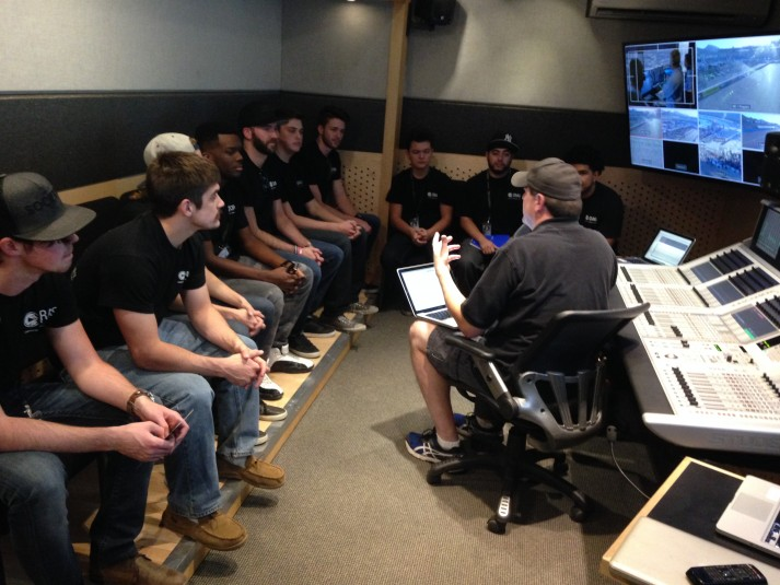Students gathered in CRAS's remote-production mobile classroom