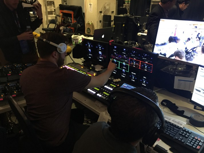 A crew of 12 ran the production using a flypack from inside the bowels of Madison Square Garden. Here, a TD selects the viewing angle that users will see during the live VR stream.