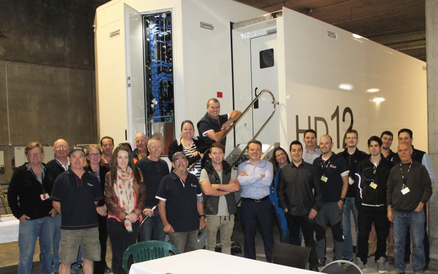 The NEP Australia team with the company's latest addition: HD12.