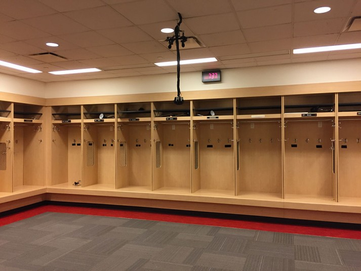 One of the stationary 360 rigs was deployed on the locker-room ceiling.