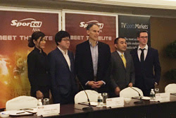 (l-to-r) Beatrice Lee, Hang Yu, Jim Small, Sam Li, and Richard Welbirg discussed the state of the China sports TV and media market at Sportel.