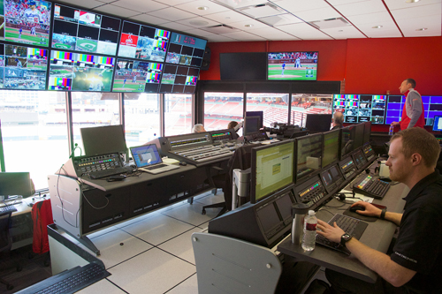 In the revamped control room, the production team can watch the action on the field and monitor the coverage.