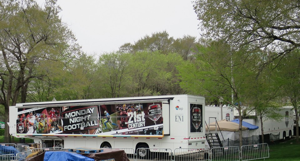 ESPN's compound at Grant Park (which includes all five NEP EN1 mobile units) is 6,000 feet away from  the Auditorium Theatre