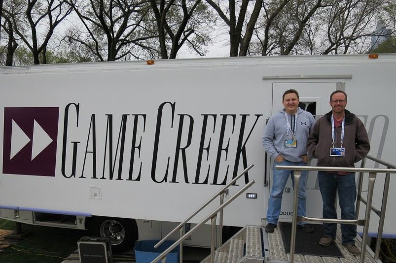 Game Creek Video EIC George Bailey (right) and his team provided NFL Network with Glory and Pride trucks.