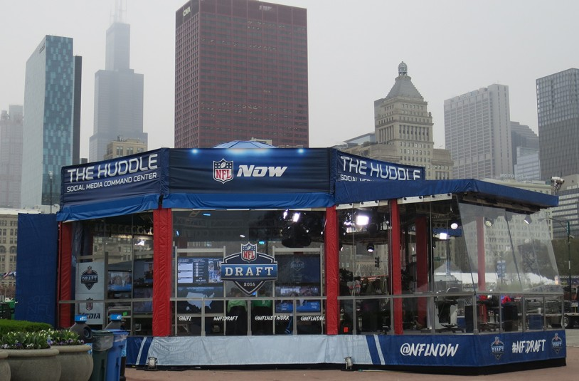 NFL Digital Media operations and the NFL Now Live studio are located here at The Huddle Social Media Command Center near Selection Square