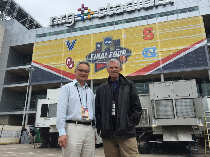 Turner Sports' Tom Sahara (left) and CBS Sports' Ken Aagaard where among those that collaborted on this weekend's Final Four.