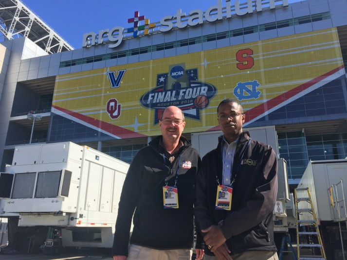 CBS Sports' John McCrae (left) and Turner Sports' Chris Brown played critical roles in the operations of this weekend's Final Four productions.