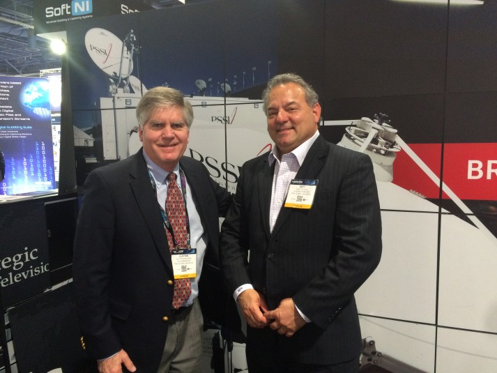 GM Matt Scalici (right) with Clayton Packard, VP, sales and business development, in the PSSI booth at NAB 2016