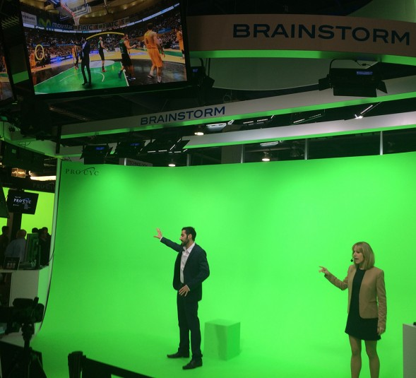 Brainstorm's 24-ft.-wide-virtual studio theater demonstrated how Infinity Set's TeleTransporter feature virtually inserts talent into a remote location.