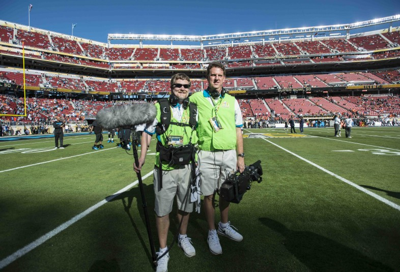 Rob Paul (left) and Tom Butler on the Panthers TV team that was onsite to produce content during Super Bowl 50.