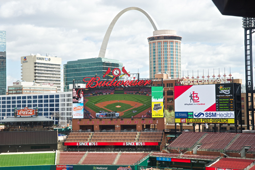 The production team uses the Busch Stadium videoboard to spur fan participation.