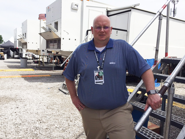 ESPN's Dennis Cleary in the production compound at Indianapolis Motor Speedway