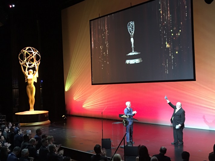 CBS Sports Chairman Sean McManus (left) had the honor of introducing long-time CBS Sports announcer Verne Lundquist at the Sports Emmys on May 10. Lundquist received the Lifetime Achievement Award.
