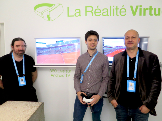 Left to right: Jean-Noel Gadreau of Push-Pull TV; Cedric de Saint-Martin of France Télévisions; and Serge Dulin of Push-Pull TV inside the RG Lab at Roland Garros.