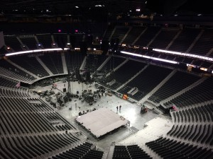 The venue, which was preparing for a George Strait concert during SVG's tour, can seat 20,000 for boxing/UFC, 18,000 for basketball, and 17,500 for hockey.