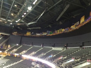 With no home team yet, the venue is decked out in shots of the Las Vegas Strip.