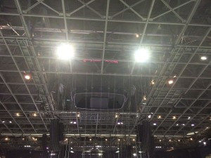 A Daktronics center-hung videoboard was lifted into the ceiling to accommodate the concert set-up.