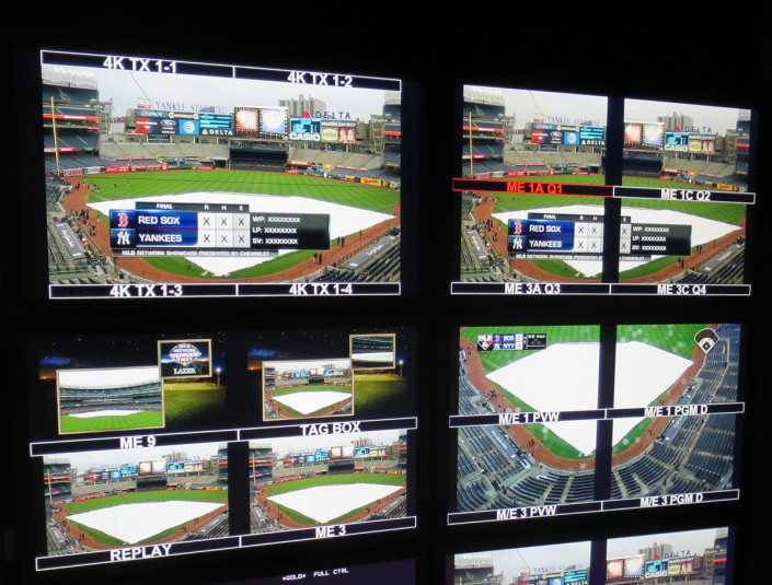The four 3G-SDI signals per 4K camera feed are displayed in the top-left monitor seen here on Riverhawk's monitor wall.