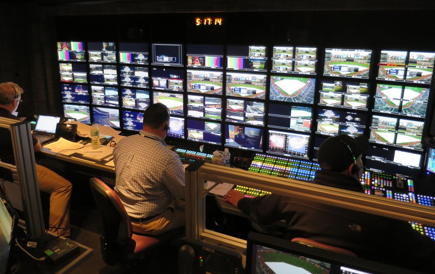 The MLB Network production inside Game Creek's Riverhawk truck at Yankee Stadium on May 6