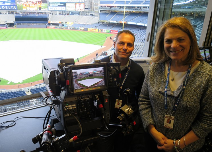 MLB Network's Susan Stone and Tom Guidice on hand for the 4K production at Yankee Stadium on May 6