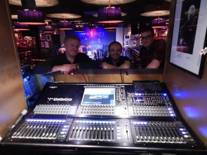 Miles Ashton (left) with DiGiCo's Tim Shaxson and Ben Wiffen from Autograph