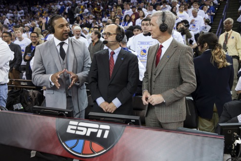 Commentators (from left) Mark Jackson, Jeff Van Gundy, and Mike Breen along with reporter Doris Burke (not pictured) will call their record seventh NBA Finals as a full broadcast team — the most for an NBA Finals quartet on TV.