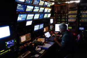 A look at the area inside one of the BSI trailers at the U.S. Open where all on-course signals can be monitored for quality control.