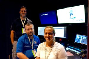 (left-to-right): Noah Gusdorff, President of CMSI; Ryan Werber, Network Engineer, CCIE; ad Brittany Sheetz, Post Production Engineer inside Edit 2, where CMSI's team lived during the U.S. Open.