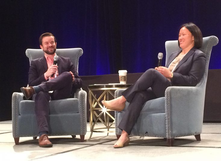 SVG's Brandon Costa (left) led the Day 2 Keynote conversation with Huchthausen
