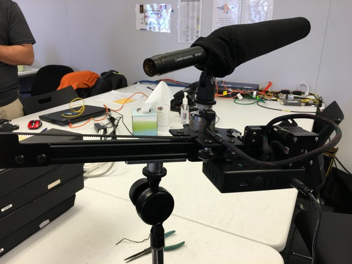 The A-T shotgun mic attached to the remotely controlled mount